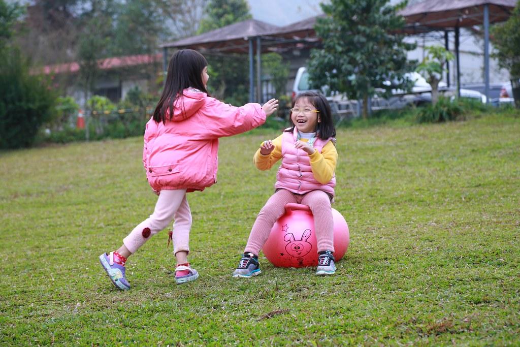 在草原上追逐的寶妹和Zoe