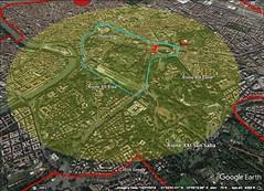 Palantine Hill, Rome 2.5 kilometer diameter