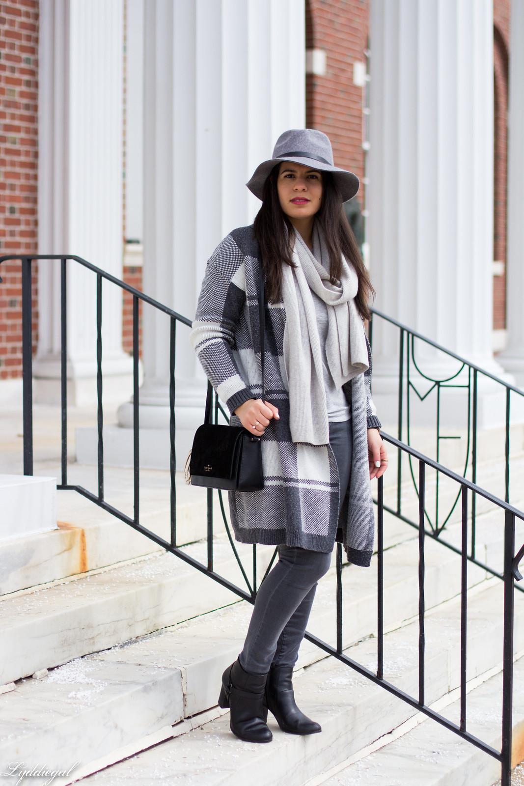 grey plaid cardigan, cashmere scarf, wool hat, grey jeans-1.jpg