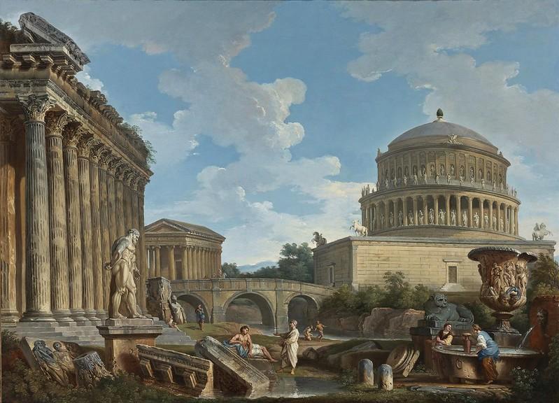 Giovanni Paolo Panini and Studio - A capriccio of Hadrians mausoleum