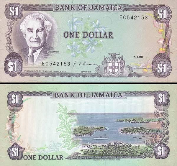 1 Dolár Jamajka 1990, P68Ad