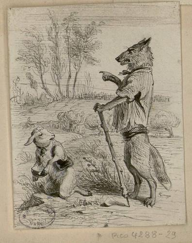 Le loup et l 39 agneau les fables de la fontaine dessins - Dessin loup et agneau ...