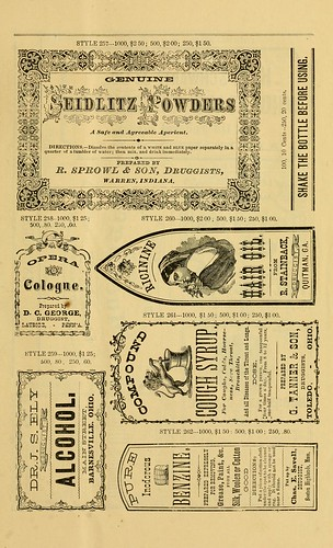 new sample book of cut and gummed druggists u0026 39  labels   1874
