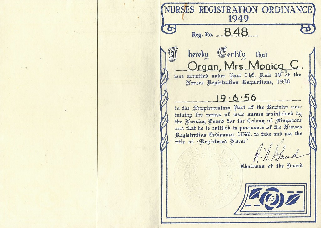 Colony of Singapore,Nursing Board Certificate | This certifi… | Flickr