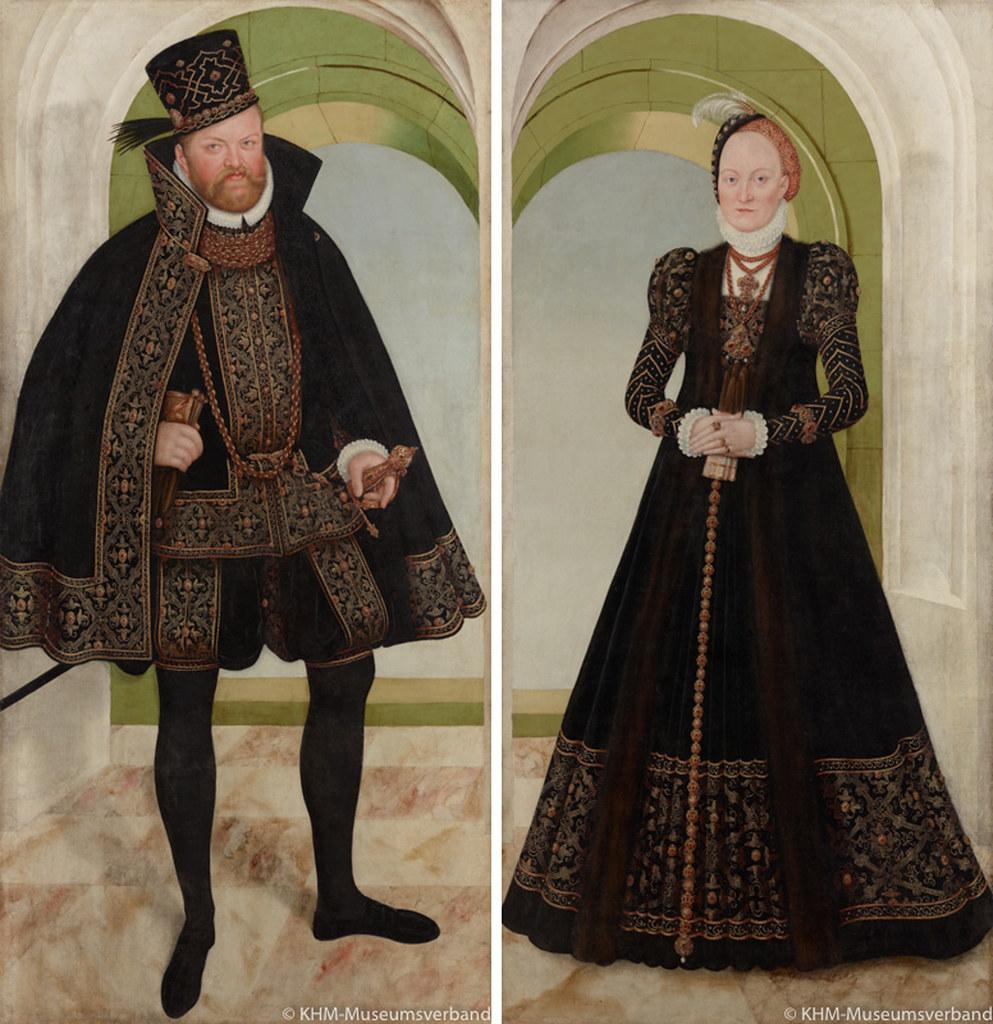 ルカス・クラーナハ(子)《ザクセン選帝侯アウグスト》左、 《アンナ・フォン・デーネマルク》右 (1565年以降・1575年頃?、ウィーン美術史美術館蔵)