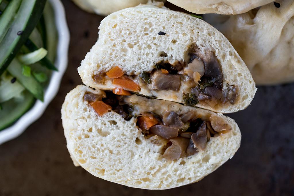 Teriyaki Mushroom Bao Buns + $10 Meal Challenge {oil-free} sweetsimplevegan.com #oilfree #budgetfriendly #veganbao #steambuns #quickpickles #easyvegan