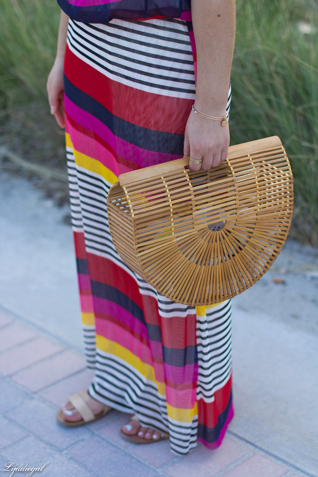 pink striped maxi dress, bamboo half moon bag, beach outfit-5.jpg