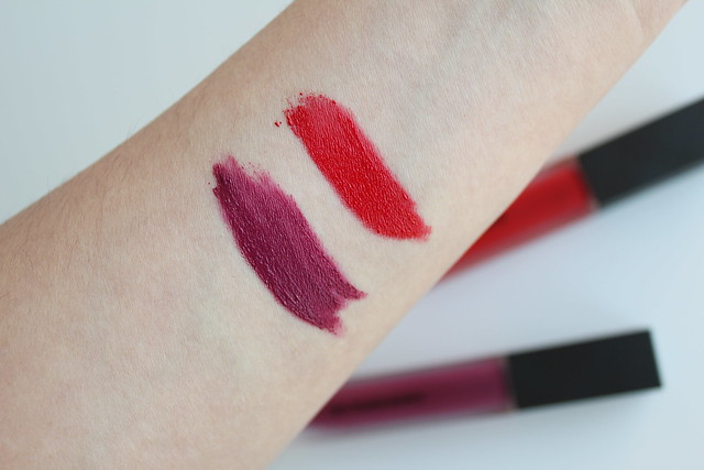 Burberry Liquid Lip Velvet in Regiment Red and Bright Plum review and swatches