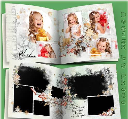 Family photobook for Photoshop – white winter