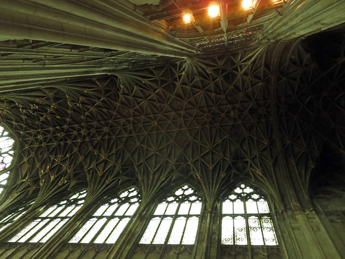 Looking up at Gloucester Cathedral's vaulted ceiling, England