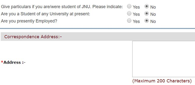 JNU Application Form 2017