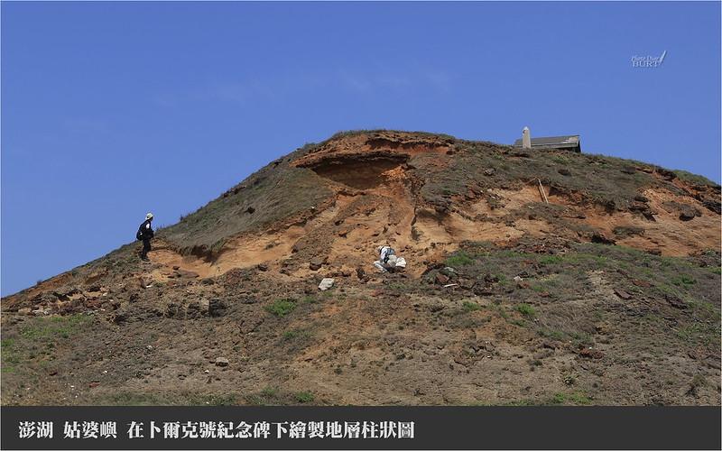 姑婆嶼_在卜爾克號紀念碑下繪製地層柱狀圖