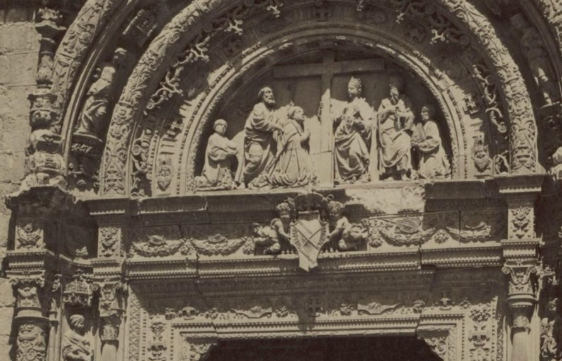Detalle del Hospital de Santa Cruz (fachada) en 1897 por Rafael Garzón