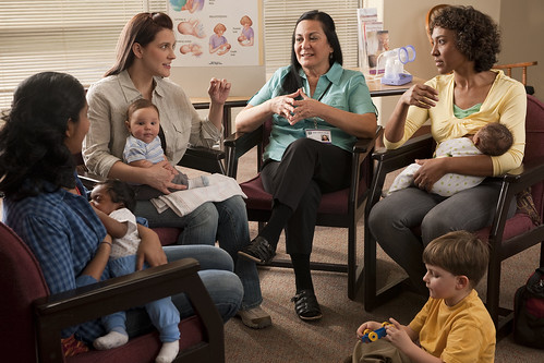 New moms participating in a group discussion with WIC counselor | by USDAgov