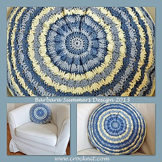 BLUE SKIES Circular Crochet Cushion (1) | by waterdragonsag