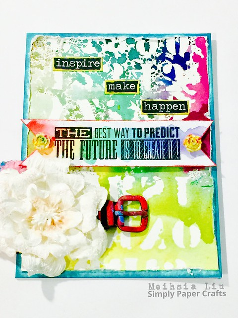 Meihsia Liu Simply Paper Crafts mixed media card rainbow Tim Holtz Simon Says Stamp