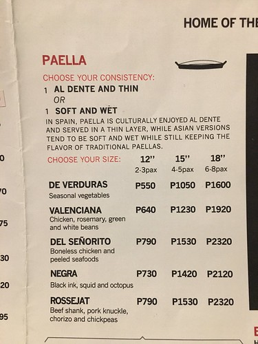 Arrozeria paella menu