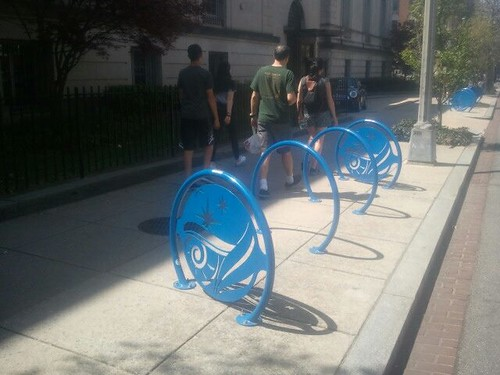Design forward bike parking at the Carnegie Institute of Washington, 1500 block of P Street NW, Washington, DC