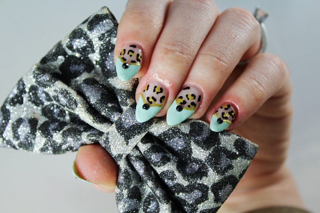 Gold and mint French manicure with leopard print