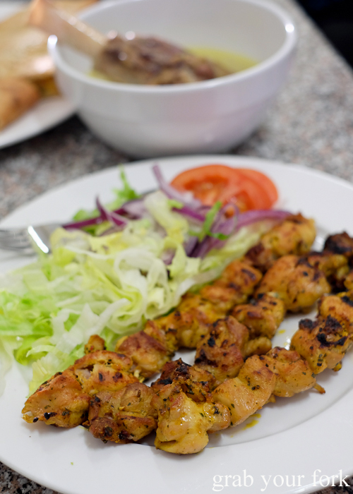Chicken kebab skewers from Afghan & Arab Bakery in Lakemba