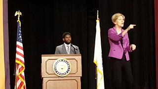 FSU student government president Ezequiel De Leon moderates town hall meeting with Senator Elizabeth Warren