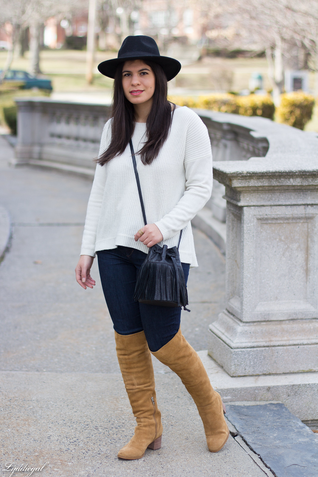 white sweater, tan over the knee boots, black wool hat-11.jpg
