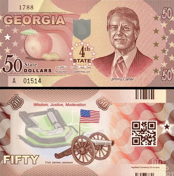 USA 50 Dollars 2014 4. štát - Georgia, polymer