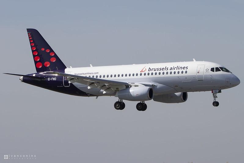 Sukhoi Superjet - Sukhoi SSJ-100-95B Superjet 100 – Brussels Airlines (CityJet) – EI-FWD – Brussels Airport (BRU EBBR) – 2017 03 25 – Landing RWY 01 – 03 – Copyright © 2017 Ivan Coninx