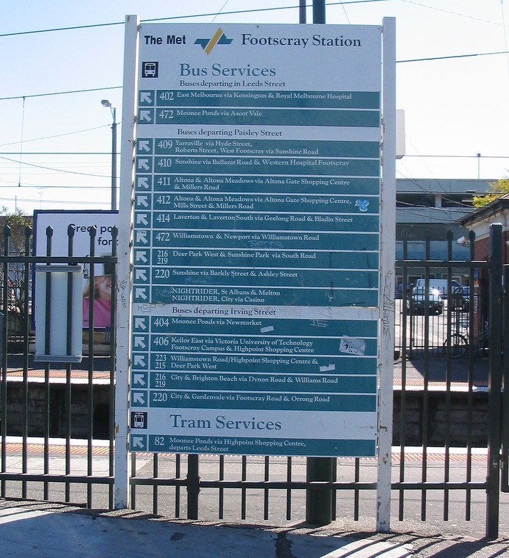 """The Met"" bus routes sign, Footscray Station, April 2007"