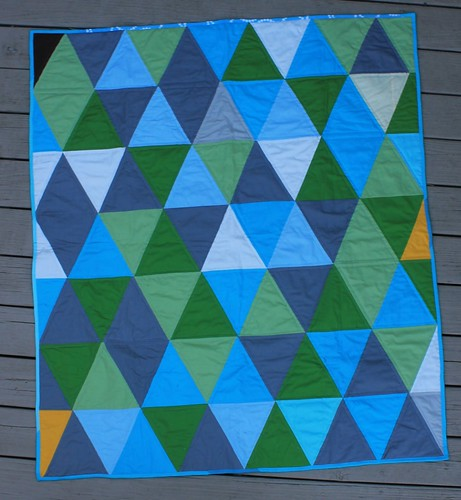 Teal triangle Baby Quilt | by DanaK~WaterPenny