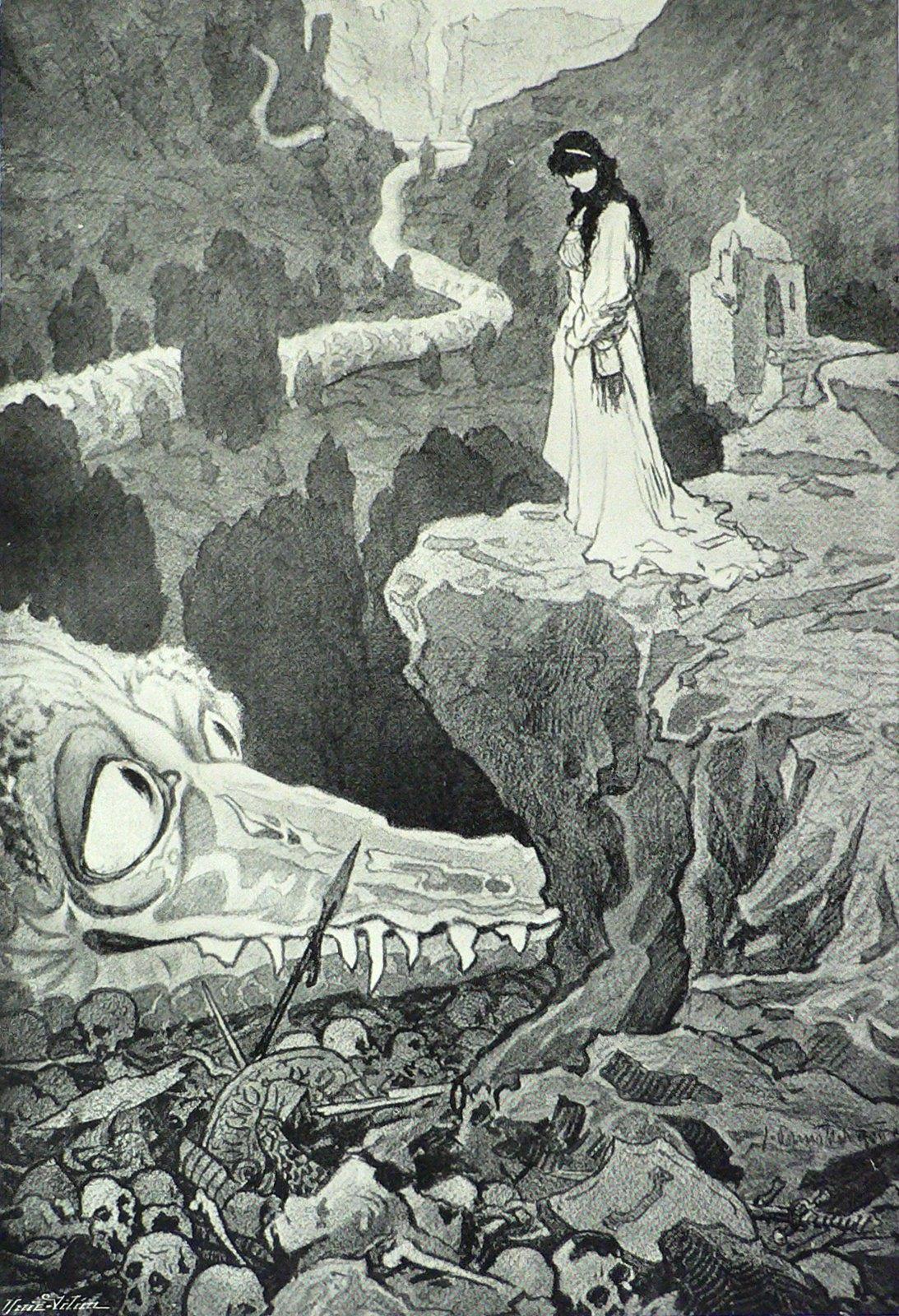 "Jaroslav Panuska - Illustration (2) for Vaclav Riha's ""Tale Of Three Wonderful Friends,"" 1900"
