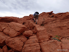 Me scrambling on Cairn Peak