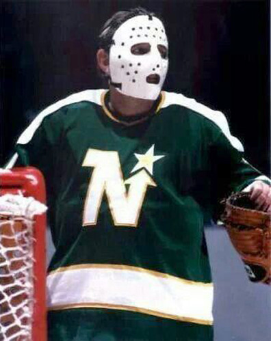 Gump Worsley wearing a mask