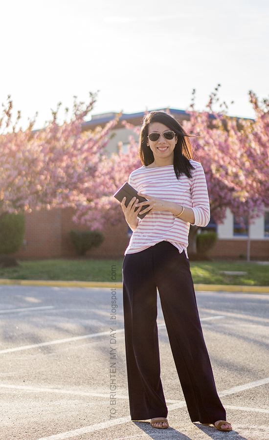 pink striped top, navy wide leg pants, brown suede sandals, rose gold cuff, taupe clutch