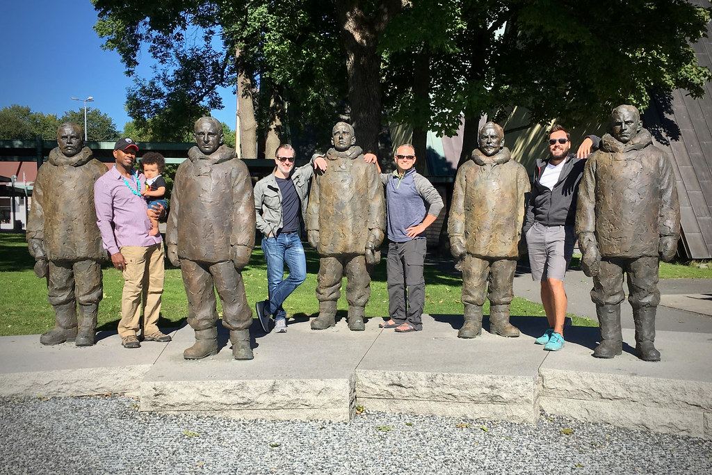 The Boys with Bronze Statues of Norwegian Explorers