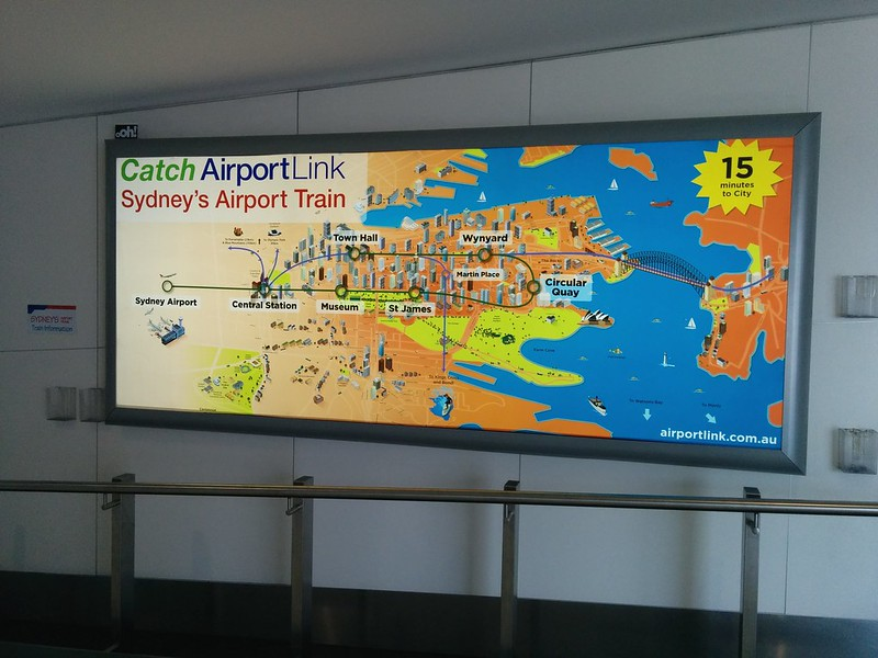 Sydney airport train ad at Melbourne Airport