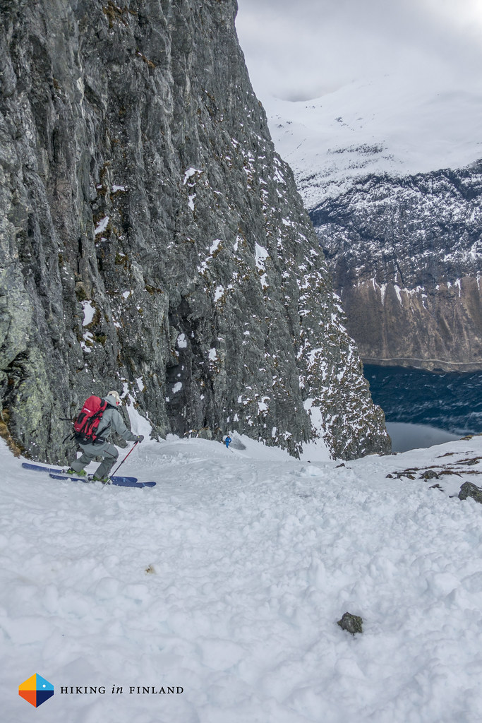 Couloir skiing above the Fjord