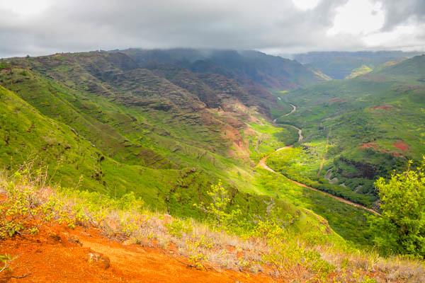 Driving To The Waimea Canyon Kauai Hawaii