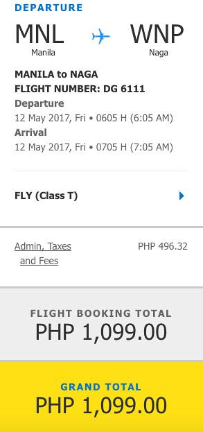 Manila to Naga Promo May 12, 2017