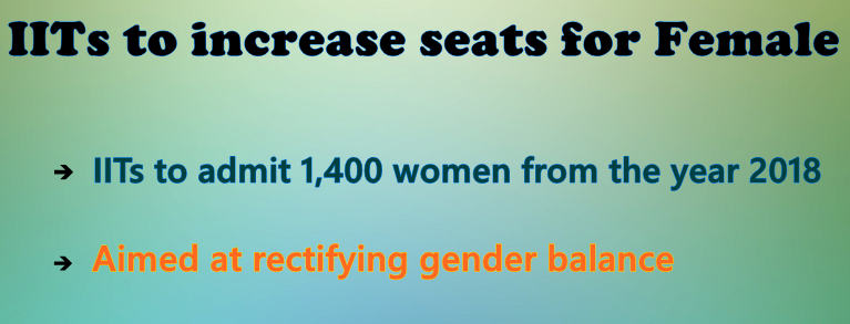 IITs to increase seats for Female
