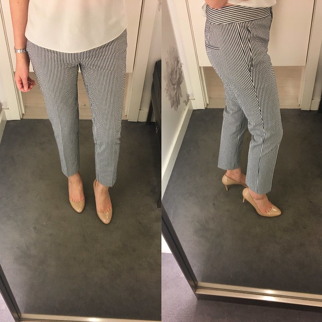Ann Taylor Devin Fit Ankle Pant in Seersucker, size 00P