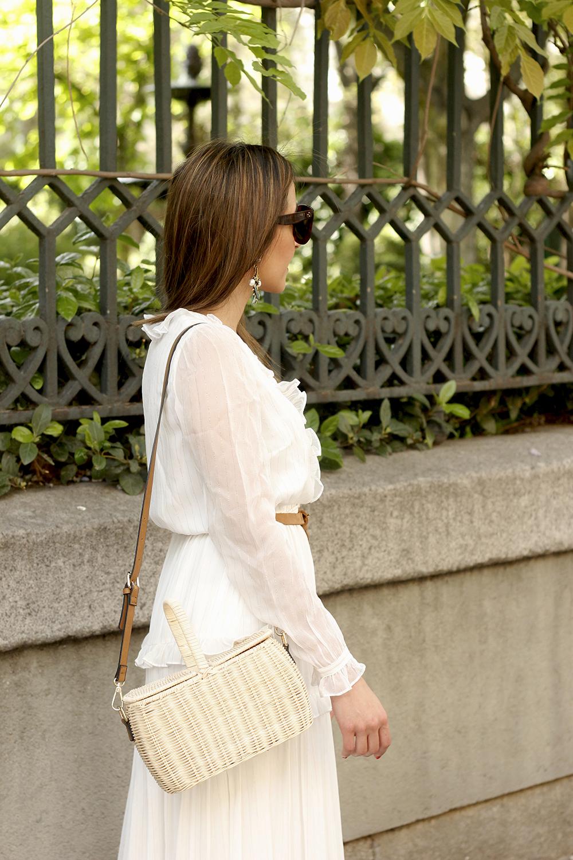 white maxi dress Subtle golden stripes wicker bag sandals céline sunnies spring outfit 06