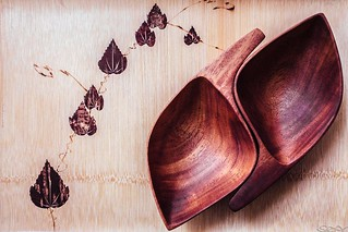 Wooden Tray & Wooden Leaf Bowls | by avrene