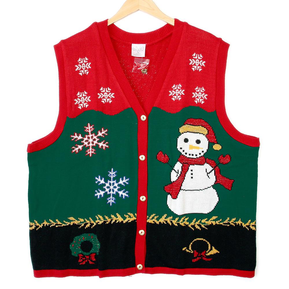 theuglysweatershop third grader snowman tacky ugly christmas sweater vest by theuglysweatershop