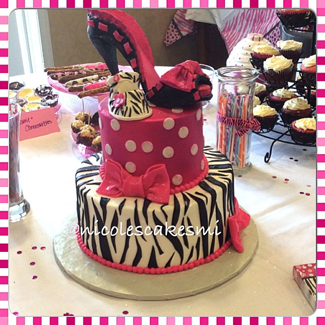 Fuchsia And Zebra Print Baby Shower Cake With Hand Made Bl Flickr