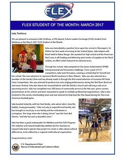 Congratulations to the March 2017 FLEX Student of the Month, Iulia from Moldova | by FLEXprogram