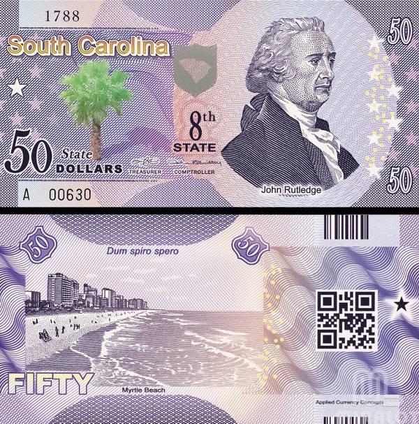 USA 50 Dollars 2014 8. štát - South Carolina, polymer