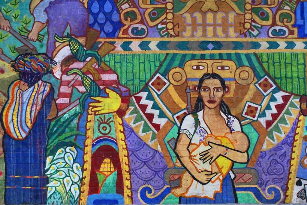 Fresque sur le murs de l'Université dans le style de l'artiste mexicain Diego Rivera.