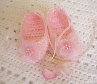 Crocheted Newborn Pink Ballet Slippers | by magdalenejewels