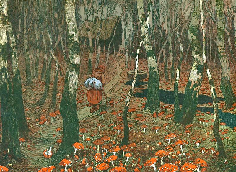 """Jaroslav Panuska - Baba in Mushrooms, Illustration in the book """"Summer Night"""" 1904-05"""